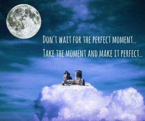 Don't wait for the perfect moment.. Take the moment and make it perfect..